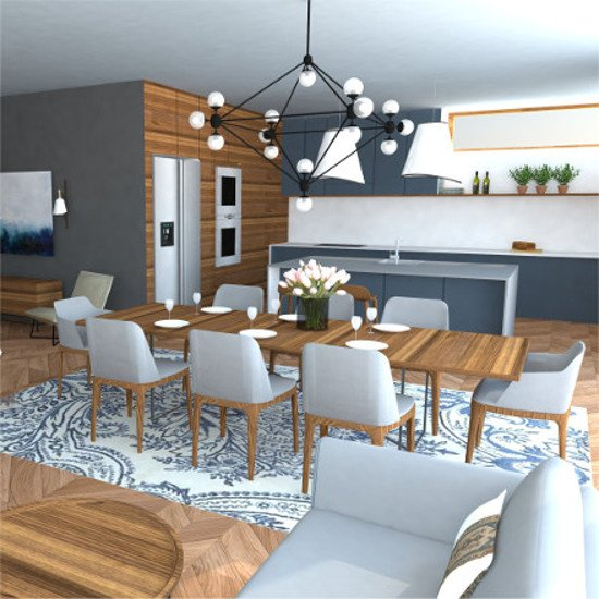 modern kitchen design and cozy living room interior